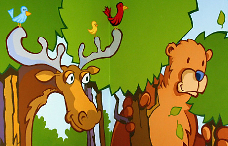 Animals in forest kids mural by lello.