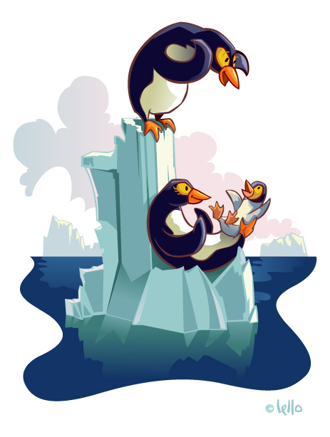 Penguin illustration created for McGraw-Hill by lello