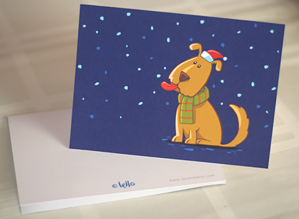Snowy Night Puppy Christmas Card